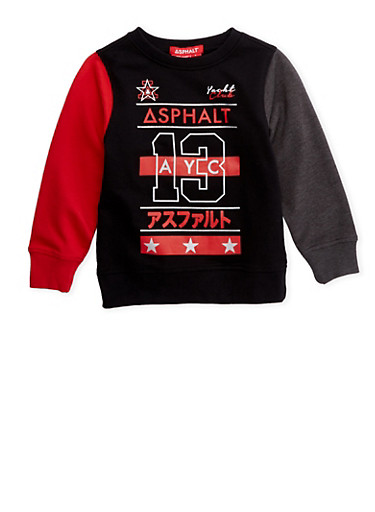 Boys 4-7 Sweatshirt with Asphalt Logo Graphics,BLACK,large
