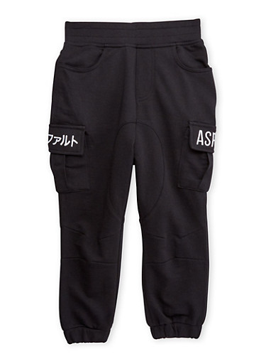 Boys 4-7 Cargo Joggers with Embroidered Asphalt Logos,BLACK,large