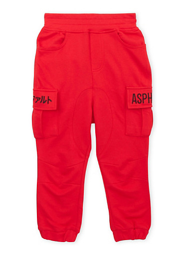 Boys 4-7 Asphalt Fleece Cargo Joggers,RED,large