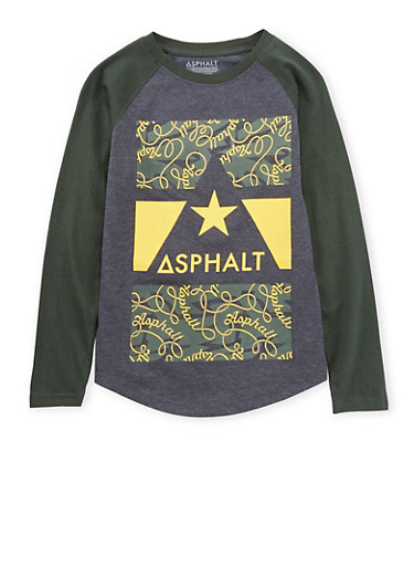 Boys 4-7 Asphalt Graphic Top with Raglan Sleeves,CHARCOAL,large