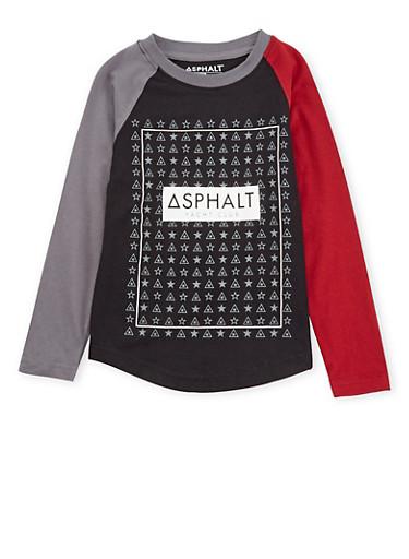 Boys 4-7 Asphalt Long Sleeve Graphic Top,BLACK,large