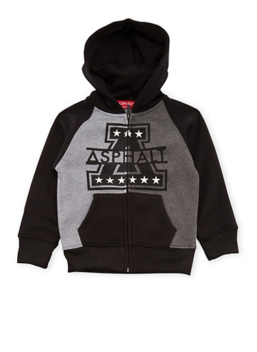 Boys 4-7 Zip-Up Hoodie with Asphalt Graphic,GREY,large