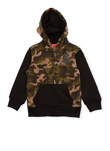 Boys 4-7 Asphalt Black Zip Up Hoodie with Camouflage Print,OLIVE,large