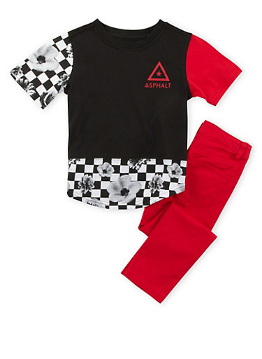 Boys 4-7x Graphic Tee and Denim Skinny Jeans with Checkered Floral Print,RED,large