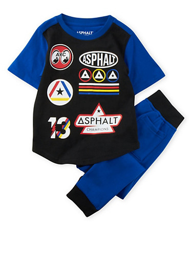 Boys 4-7x Color Block Tee and Joggers Set with Graphic,BLUE,large
