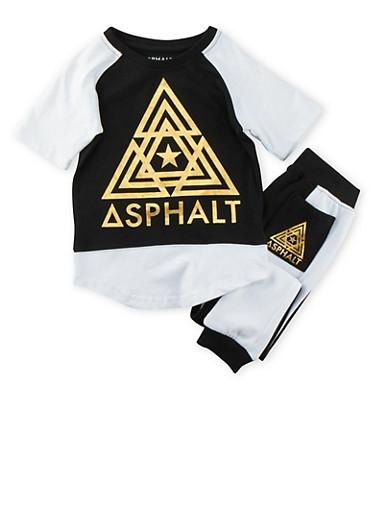 Boys 4-7x Asphalt Gold Foil T-Shirt with Joggers Set,BLACK,large