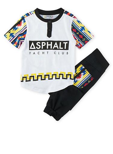Boys 4-7x Asphalt Graphic Tee and Denim Joggers Set,BLACK,large