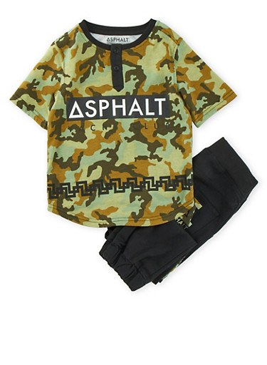 Boys 4-7x Graphic Camouflage T-Shirt and Joggers Set with Asphalt Yacht Club Print,BLACK,large