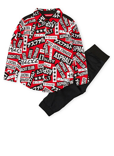 Boys 4-7x Asphalt Graphic Button Front Shirt with Joggers Set,BLACK,large