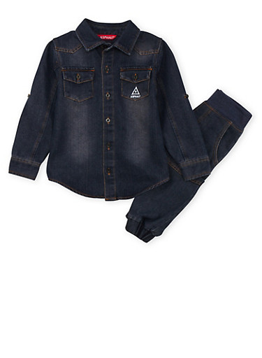 Boys 4-7x Asphalt Denim Button Front Shirt and Joggers Set,INDIGO,large