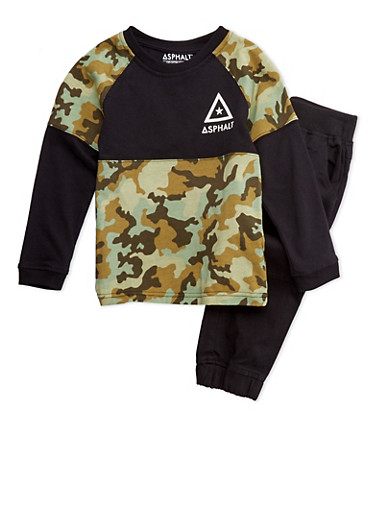 Boys 4-7x Camo Top and Joggers Set,BLACK,large