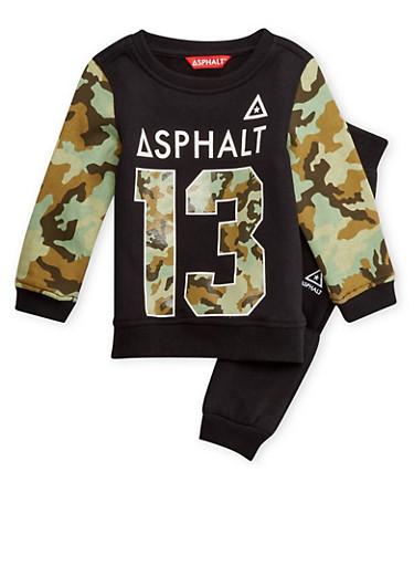 Boys 4-7x Numbered Graphic Sweatshirt and Joggers with Camouflage Print,BLACK,large