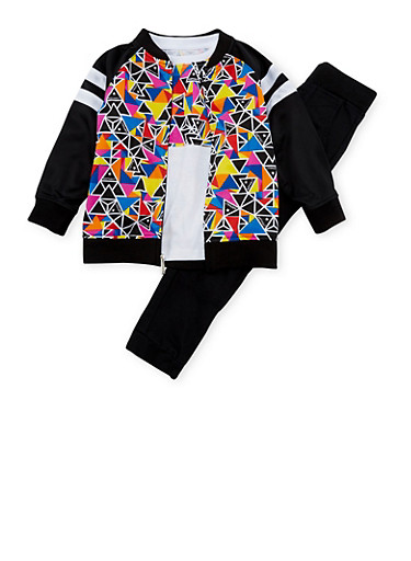 Boys 4-7x Asphalt Three Piece Set with Multicolored Triangle Print,BLACK,large
