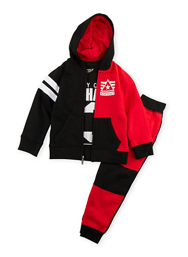 Boys 4-7x Asphalt Hoodie with T-Shirt and Joggers Set,RED,large
