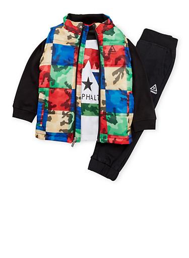 Boys 4-7 Asphalt Puffer Vest with Shirt and Joggers,BLACK,large