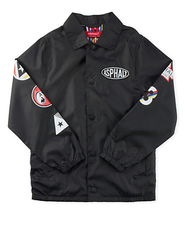 Boys 8-20 Asphalt Varsity Coat with Logo Graphics,BLACK,large