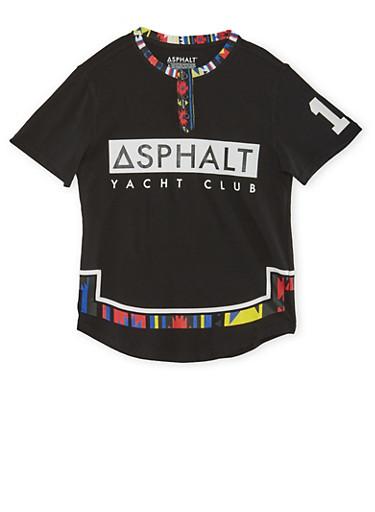 Boys 8-20 Polo Shirt with Asphalt Yacht Club Graphic,BLACK,large