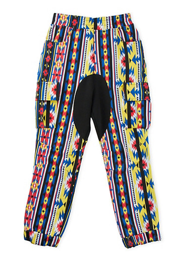 Boys 8-20 Cargo Joggers in Aztec Print,BLACK,large