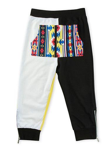Boys 8-20 Color Block Dropped Crotch Joggers with Aztec Print Pocket,BLACK,large
