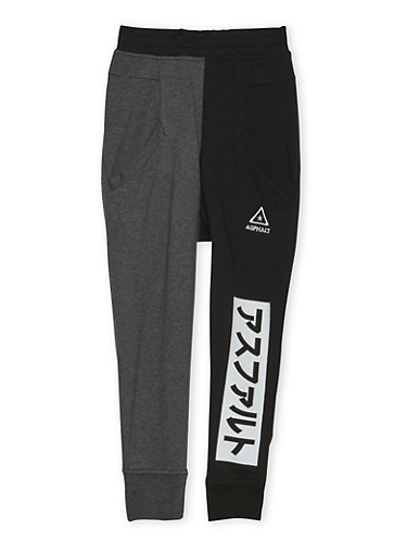Boys 8-20 Color Block Joggers with Graphic,BLACK,large