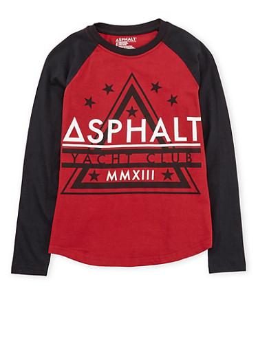 Boys 8-20 Asphalt Long Sleeve Graphic Top,RED,large