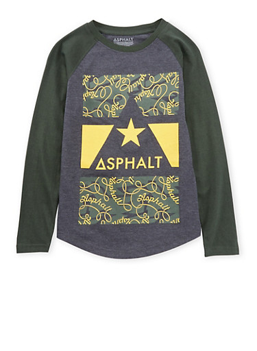 Boys 8-20 Asphalt Graphic Top with Raglan Sleeves,GREEN,large