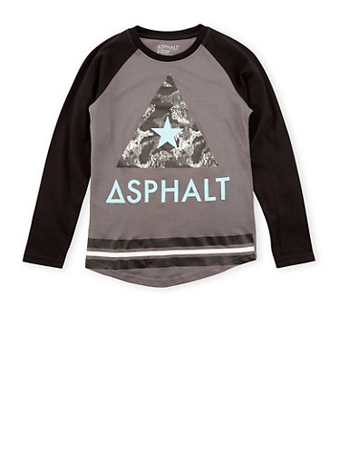 Boys 8-20 Asphalt Graphic Top with Long Sleeves,GREY,large
