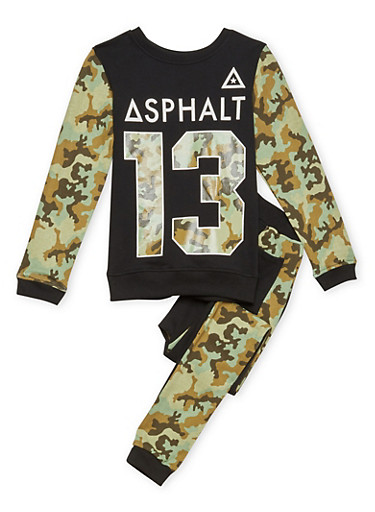 Boys 8-12 Graphic Top and Joggers Set in Camo Print,BLACK,large