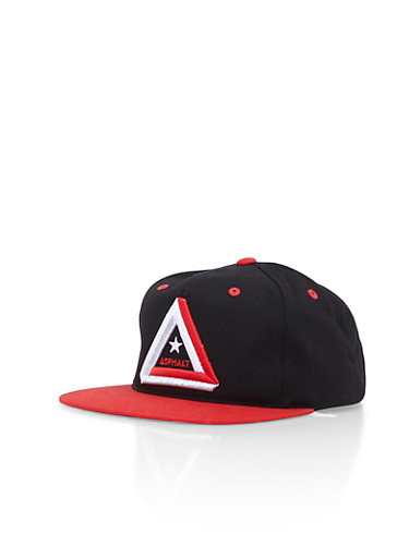Asphalt Color Block Snapback Hat with Embroidery,RED,large