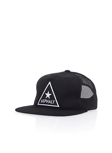 Asphalt Snapback Hat with Embroidery and Mesh Panel,BLACK,large