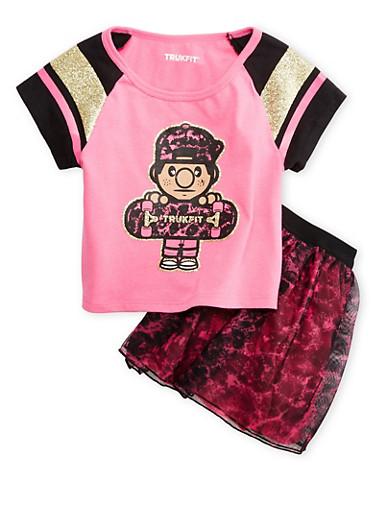 Girls 4-6x Trukfit Glitter Graphic Tee with Tulle Skirt Set,FUCHSIA,large