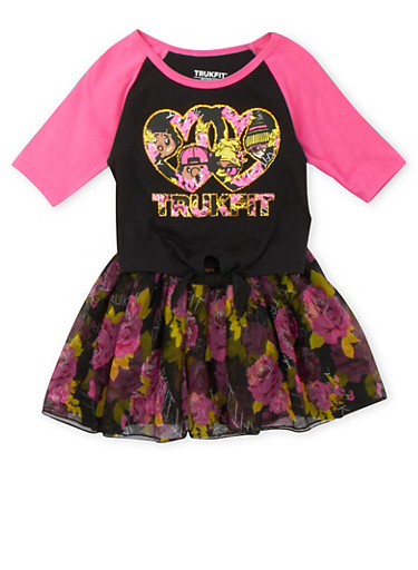 Girls 4-6x Trukfit Tie-Front Top and Floral Tutu Set with Graphic,FUCHSIA,large