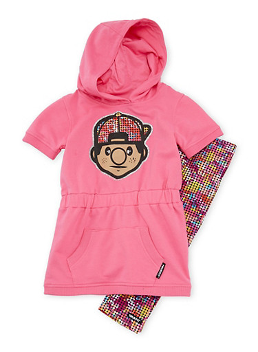 Girls 4-6x Trukfit Graphic Hooded Dress with Printed Leggings Set,PINK,large