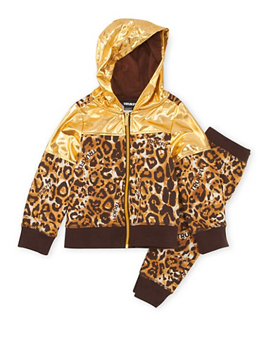 Girls 4-6x Trukfit Leopard Print Lame Hoodie with Matching Sweatpants Set,GOLD,large