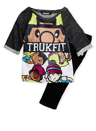 Girls 4-6x Trukfit Graphic Knit Top and Skinny Jeans Set,BLACK,large