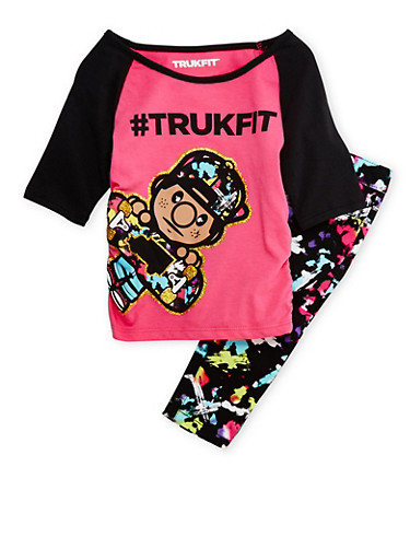 Girls 4-6x Trukfit Graphic Tee and Printed Jeans Set,FUCHSIA,large