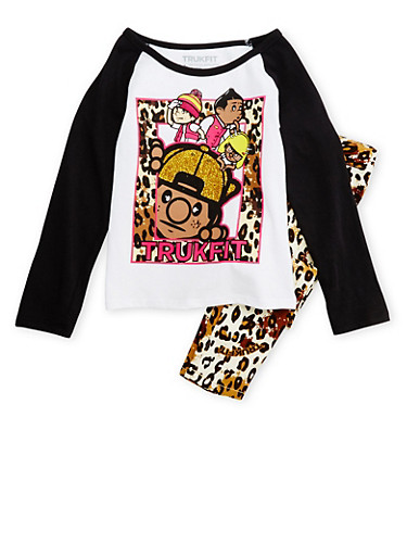 Girls 4-6x Trukfit Glitter and Leopard Print Long Sleeve Top and Skinny Pants,WHITE,large