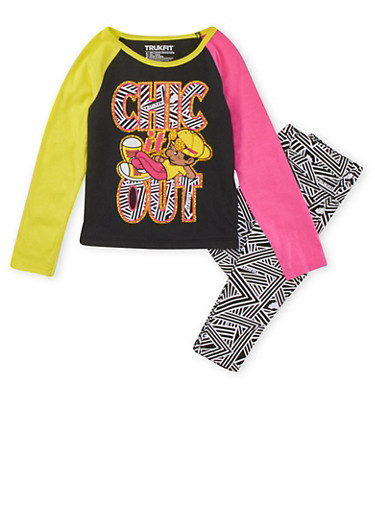 Girls 4-6x Graphic Top and Printed Jeans Set,BLACK,large