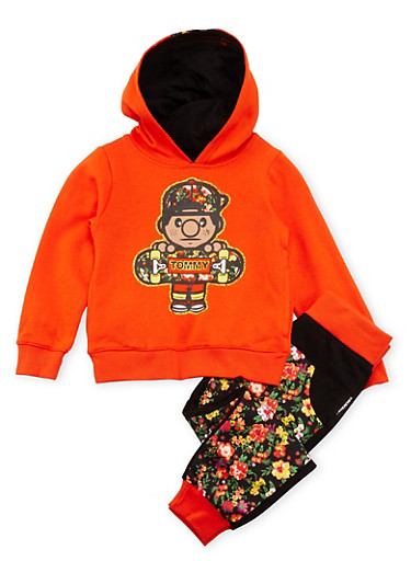 Girls 4-6x Trukfit Graphic Hoodie with Floral Print Joggers Set,ORANGE,large
