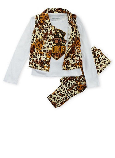Girls 4-6x Trukfit Top with Vest and Pants Set,LEOPARD PRINT,large