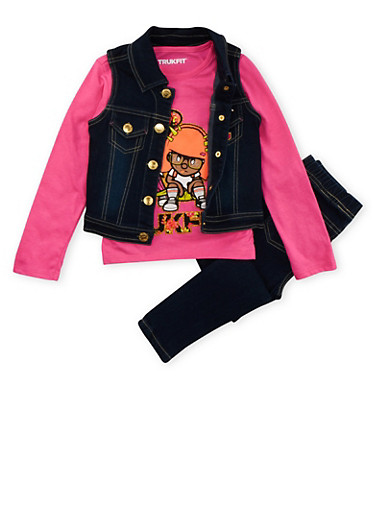 Girls 4-7 Trukfit Graphic Long Sleeve Top with Matching Denim Vest and Jeggings,FUCHSIA,large
