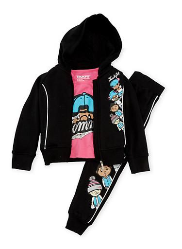 Girls 4-6x Trukfit Graphic Sweatsuit Set,BLACK,large
