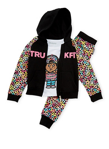 Girls 4-6x Trukfit Hoodie T-Shirt and Joggers with Rainbow Leopard Print,BLACK,large