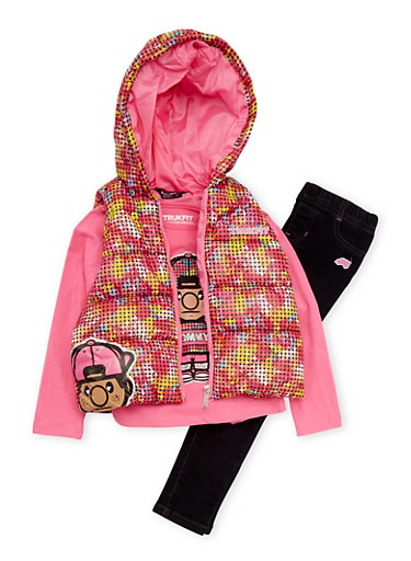 Girls 4-6x Trukfit Vest with Top and Jeans Set,FUCHSIA,large