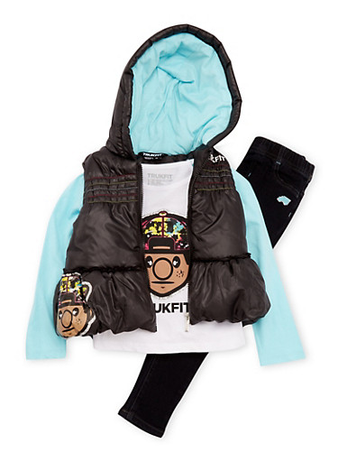 Girls 4-6x Trukfit Puffer Vest and Top with Jeggings Set,BLACK,large