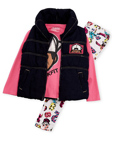 Girls 4-6x Trukfit Vest and Top with Printed Jeans Set,FUCHSIA,large