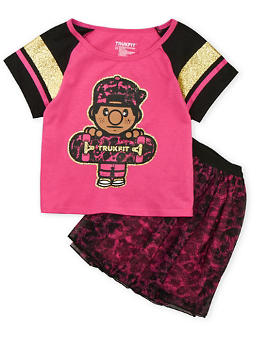 Girls 7-12 Trukfit Graphic Tee and Printed Tutu Set,FUCHSIA,large