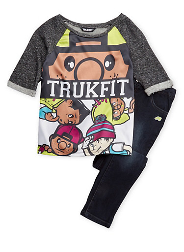 Girls 7-12 Trukfit Graphic Knit Raglan Top and Skinny Jeans,BLACK,large