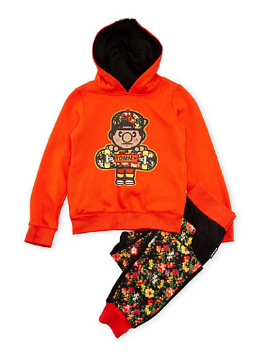 Girls 7-12 Trukfit Graphic Hoodie with Floral Print Joggers Set,ORANGE,large