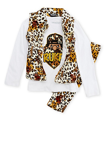 Girls 7-12 Trukfit Printed Denim Vest and Graphic Top with Jeans Set,LEOPARD PRINT,large